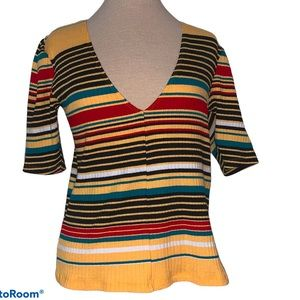 Free People striped ribbed short sleeve top